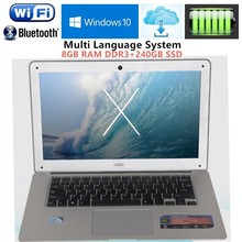 8GB RAM+240GB SSD 1920X1080P 14.1inch ultrabook laptops computer Intel J1900 Duad-core Win10 notebook Fast Boot Multi-language