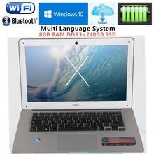8GB RAM+240GB SSD 1920X1080P 14.1inch ultrabook laptops computer Intel J1900 Duad-core Win10 notebook Fast Boot Multi-language