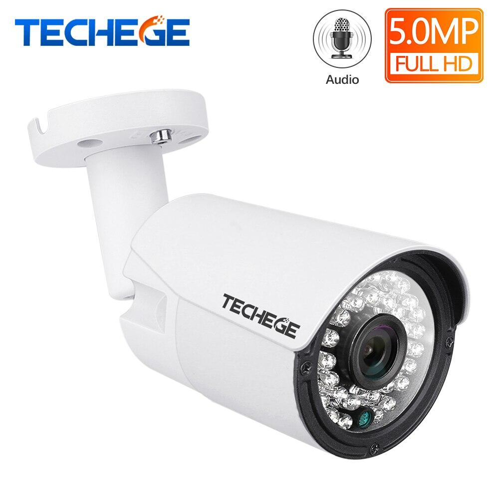 Techege H.265 Áudio Da Câmera De Segurança Ao Ar Livre Câmera de Vigilância de Vídeo À Prova D' Água IP POE Onvif FTP Movimento Dectection 5MP 3MP 2MP