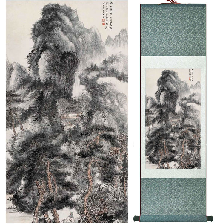 Zhangdaqian Mountain and River painting Chinese scroll painting landscape art painting home decoration painting 0402022