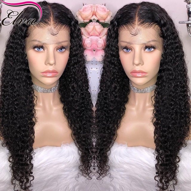Elva Hair 360 Lace Frontal Wig For Black Women Brazilian Curly Lace Front  Human Hair Wigs With Baby Hair Pre Plucked Remy Hair 8e5176c7eb