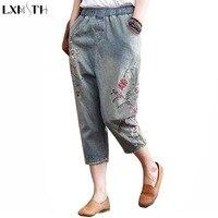 LXMSTH Gorąca Sprzedaż Capri Spodnie Kobiety Wysoka Talia jeans Rocznika Bielone Kwiat Panie Haftowane dżinsy Przypadkowy Luźne Spodnie Haren