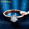 GR.NERH Brand Jewlery New Gold Plated Classic Design 1 carat 6mm Simulated Diamond Wedding Rings For Women Jewelry