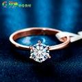 GR.NERH Brand Jewlery New Gold Plated Classic Design 1 carat 6mm Simulated Diamond Wedding Rings For Women Jewelry