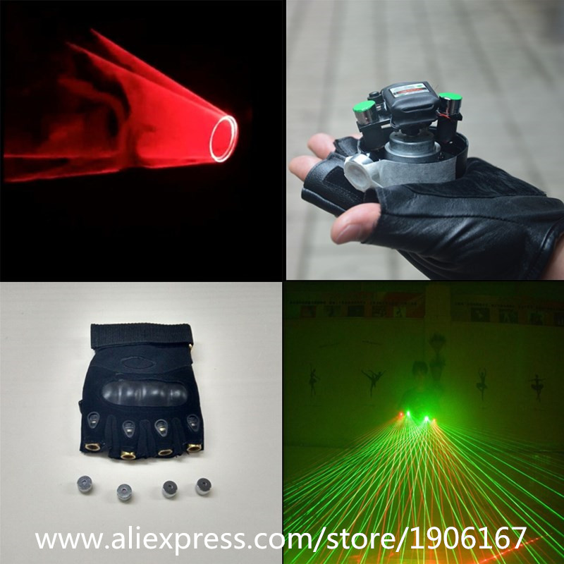 Hot Red Swril Led Laser Gloves With 2 Pcs Green And 4