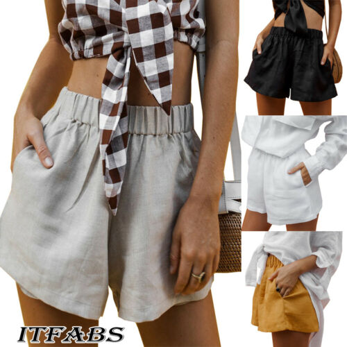 2019 Women's Casual Cotton  Shorts Summer Loose Solid Color Women Fashion Shorts