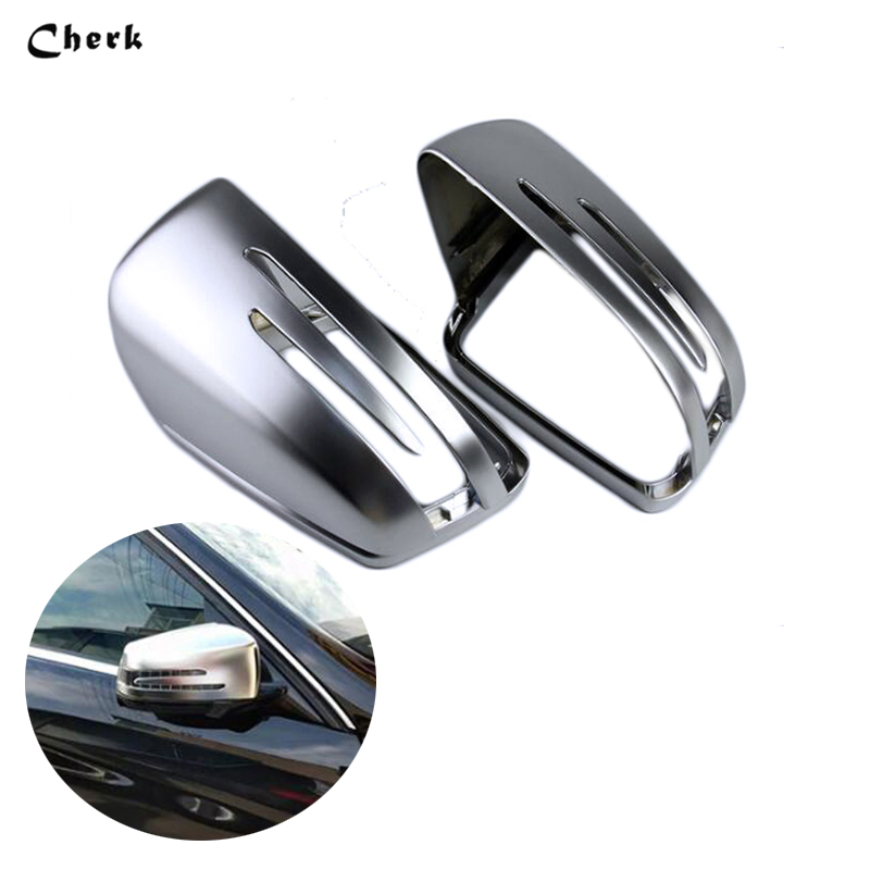 1 Pair ABS Matt Car Rearview Mirror Rear Side Cover For Benz W176 W246 W204 W212 W221 CLA C117 GLA X156 GLK X204 CLS W218 abs mirror cover chrome matt painted cap side mirror housings for volkswagen jetta golf 5 passat b6 ct