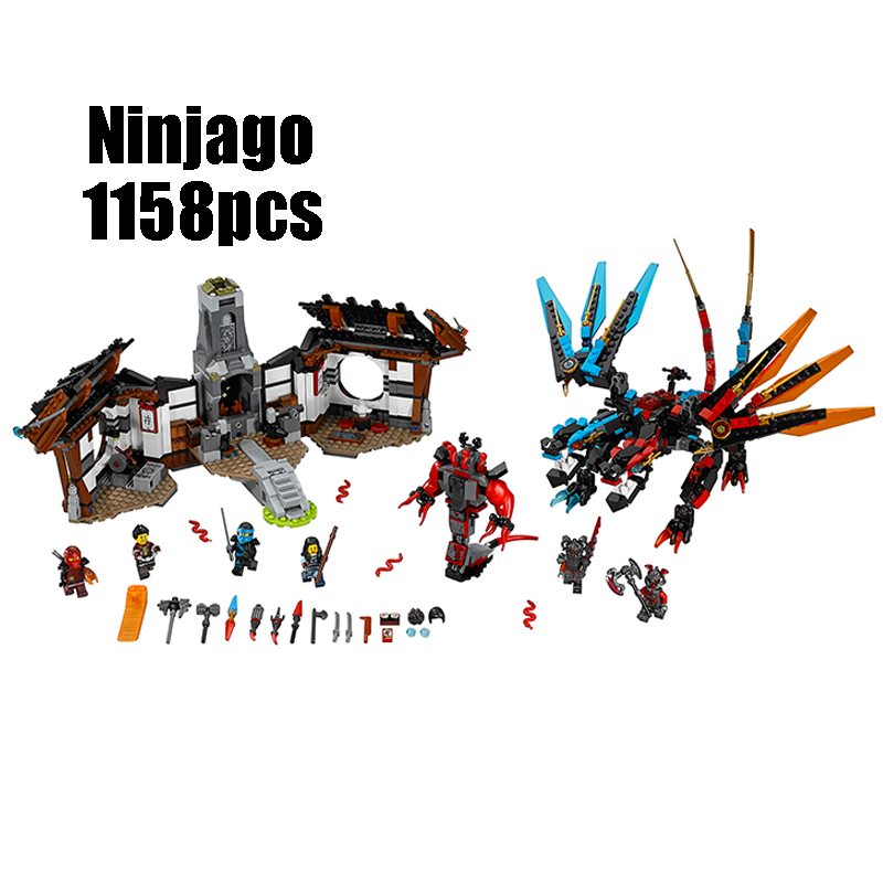 WAZ Compatible Legoe Ninjagoes 70627 Lepin 06041 1158pcs blocks Ninjago Figure Dragon's Forge toys for children building blocks 0367 sluban 678pcs city series international airport model building blocks enlighten figure toys for children compatible legoe