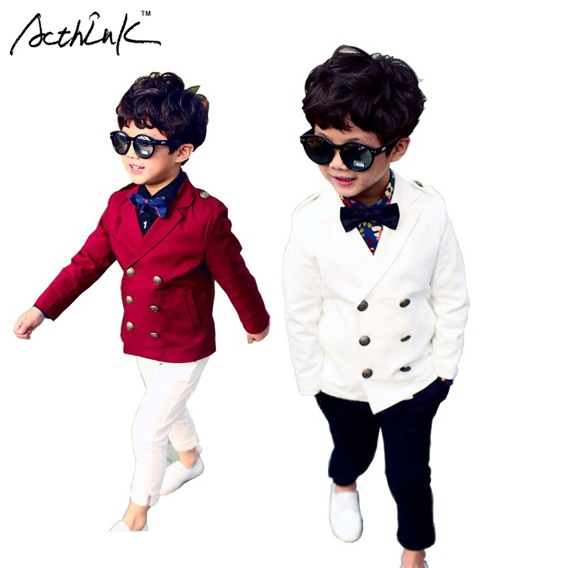 цена ActhInK New Boys Double Breasted Formal Wedding Blazer Jacket Brand England Style Flower Boys Tuxedo Blazer Kids Jacket, C175