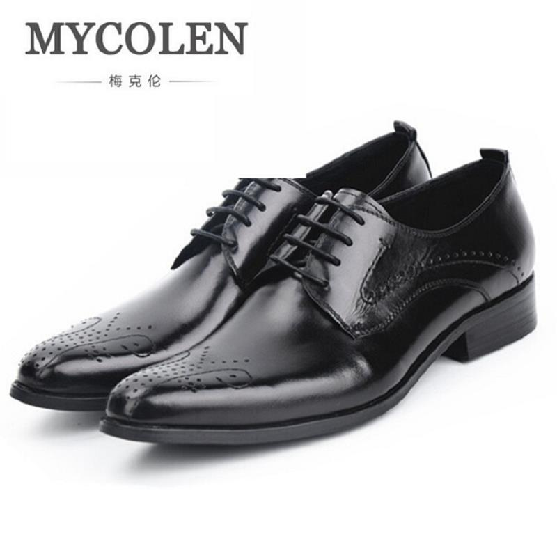 MYCOLEN Italian Designer Black Brogue Shoes Genuine Leather Lace Up Men Formal Dress Oxfords Party Office Wedding Footwear недорого
