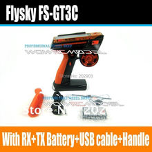 Flysky Newest FS-GT3C GT3C 2.4G 3CH Gun RC Controller /w receiver , TX battery, USB cable, handle --Upgraded FS-GT3B GT3B
