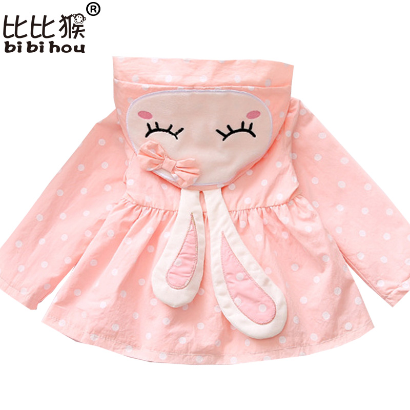 Bibihou Baby Girls Jacket Clothes 2017 Spring Cotton Sweet Newborn Bow Cartoon Rabbit Hooded Windbreaker For Jackets & Coats
