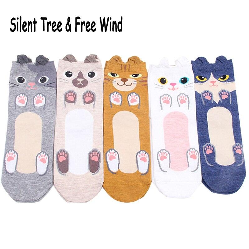 Funny Women Cute Cat Paws Cartoon Cotton Socks Japanese Kawaii Girls Pet Persian Ragdoll Kitty Claws Animal Crew Sock Summer