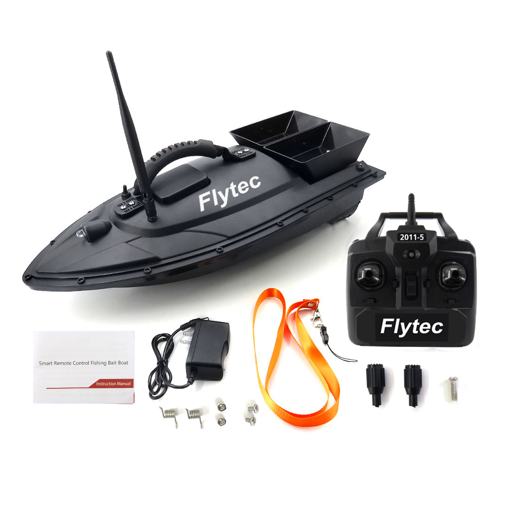 Flytec 2011-5 Fish Finder 1.5kg Loading 2pcs Tanks Double Motors 500M Remote Control Sea RC Fishing Bait Boat With Casting