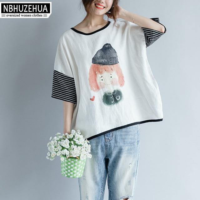 4208a5c6b9 NBHUZEHUA 7G844 Plus Size Top Female Summer Style Casual O Neck Striped  Girl Print Short Sleeve