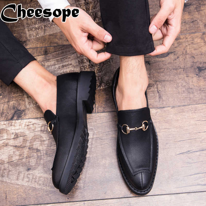 Kore Versiyonu Erkekler At Toka Elbise Ayakkabı Erkekler Klasik Artı Boyutu Lüks Stil Moda Erkek Resmi Ofis Düğün Beyler Ayakkabı