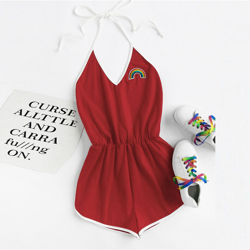 Women Red Sexy Rainbow Embroidery Patch Contrast Binding Halter Romper 2018