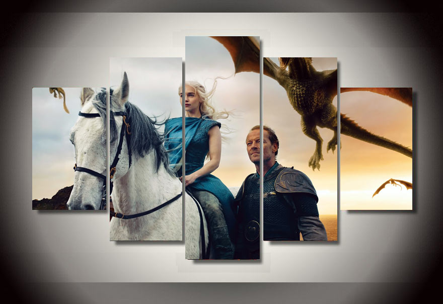 Top fashion home wall decoration art unframed game of for Game of thrones garden ornaments