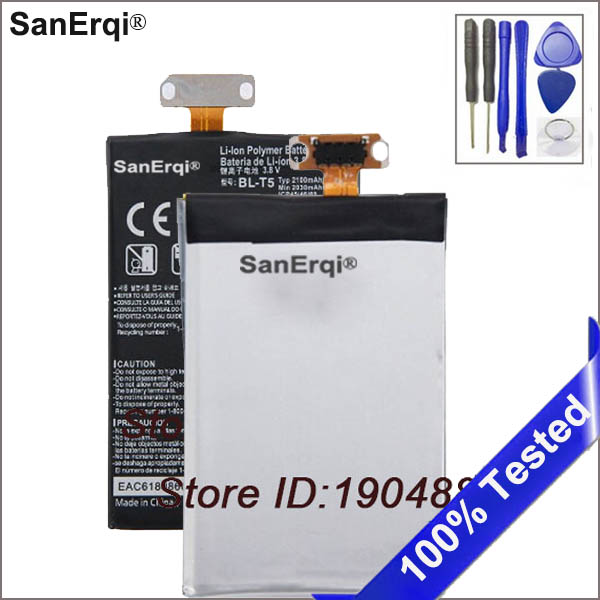 SanErqi SanErqi 2100mAh Replacement <font><b>Battery</b></font> For <font><b>LG</b></font> E975 E973 E970 E960 F180 Nexus <font><b>4</b></font> <font><b>Battery</b></font> BL-T5 <font><b>Battery</b></font> With Tools image