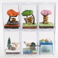 Kawaii Rilakkuma Bear Seasonal Terrarium Mini PVC Figures Collectible Toys Dolls 6pcs/set