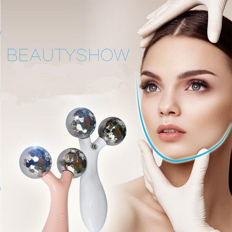 Vibrations visage rouleau visage mince façonner instrument rechargeable beauté du visage instrument tirant compact 3d masseur de charge