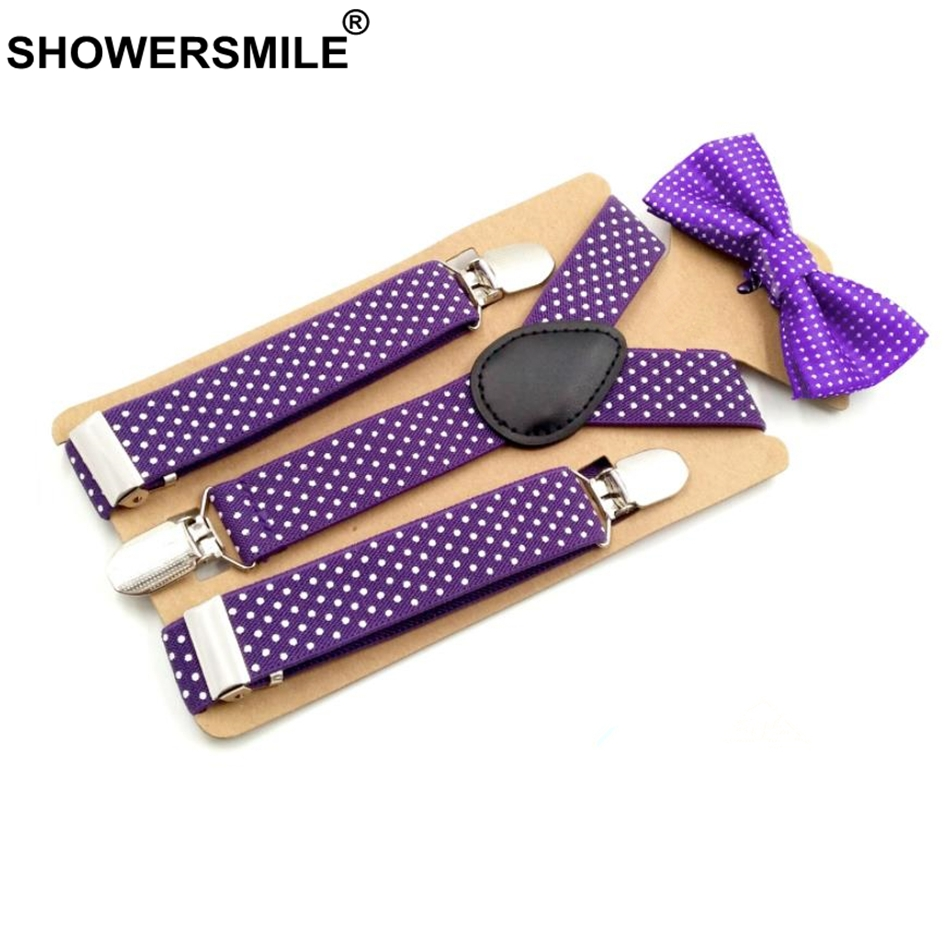 SHOWERSMILE Children Suspenders And Bow Ties Purple Unisex Trousers Braces For Boys Grils Wedding Fashion Suspenders Kids