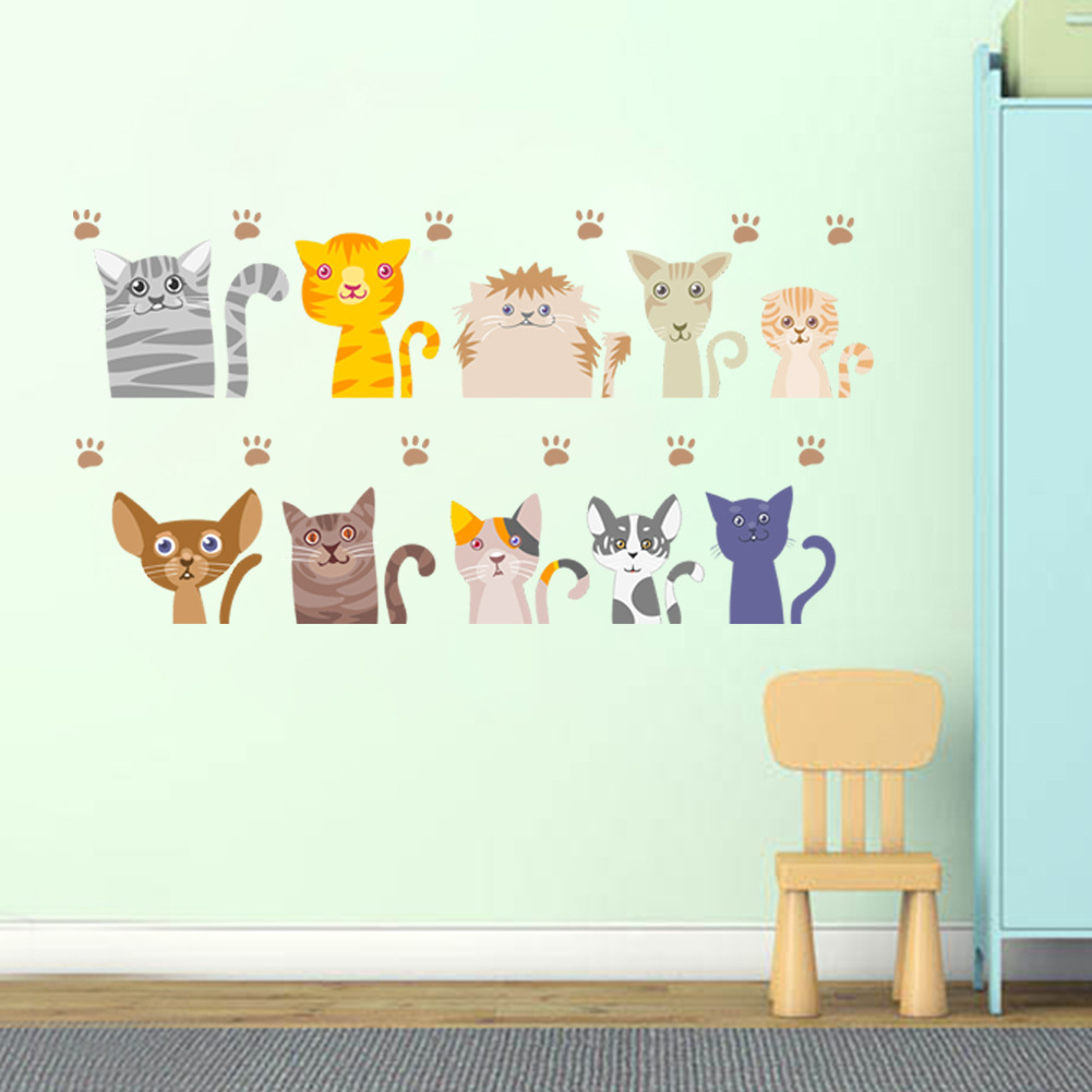DIY10pcs Cute Kitten Wall Sticker Switch Sticker Notebook Sticker Children Room Kindergarten Wall Decoration Home Decor Sticker