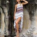 Hot Sale Women Summer Dress 2016 Ladies Sexy Casual Sleeveless Split Hem Irregular Beach Long Maxi Dress Vintage Print Vestidos