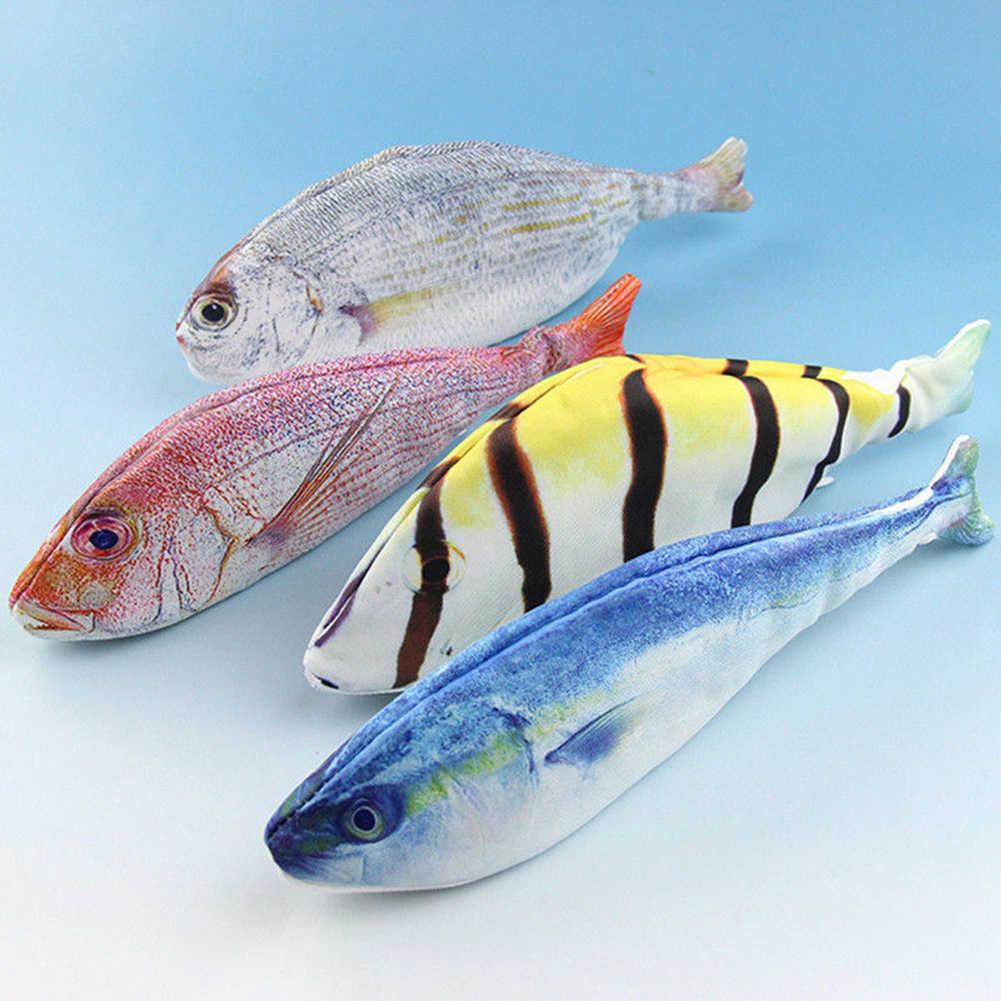 Модная креативная 3D синяя соленая полосатая соленая Золотая арована рыбья форма сумка Канцелярские Школьные принадлежности косметичка