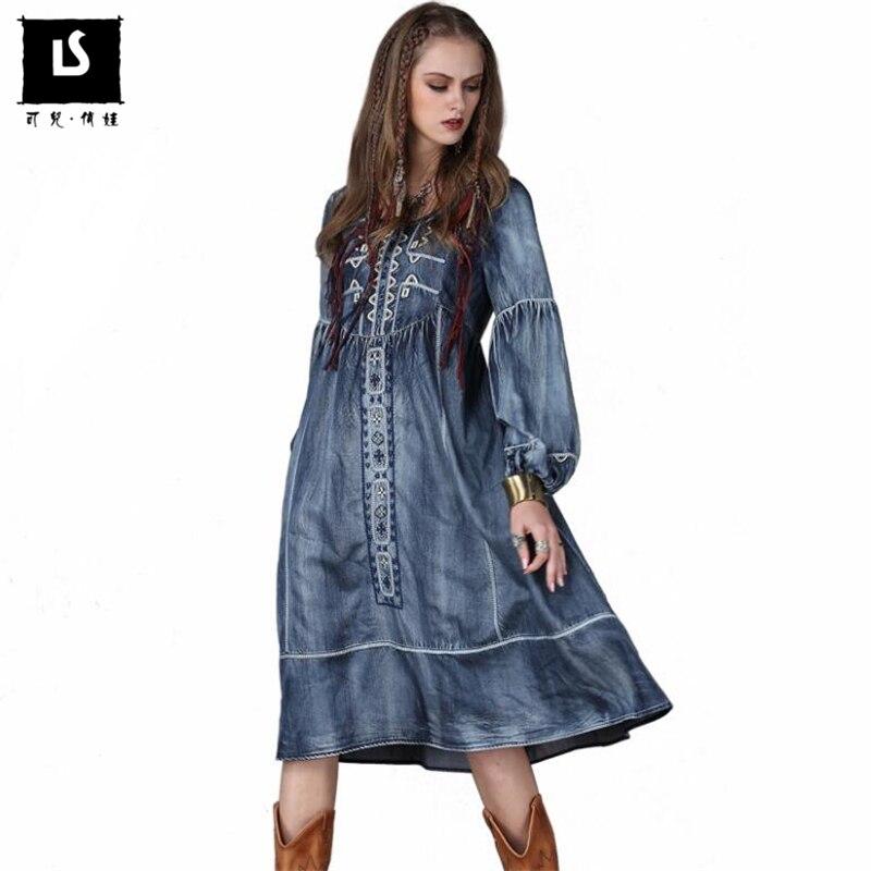 新しい2018春秋の女性の緩いデニムドレスランタンスリーブ国家スタイルヴィンテージ高品質刺繍ドレスのための女性  グループ上の レディース衣服 からの ドレス の中 1