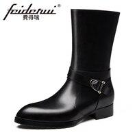Модные дизайнерские из натуральной кожи Для мужчин длинные ботинки до середины икры острый носок монах ремень ручной работы человек ковбой