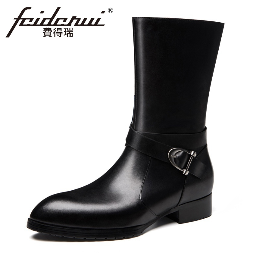 Fashion Designer Genuine Leather Men's Long Mid-calf Boots Pointed Toe Monk Strap Handmade Man Cowboy Motorcycle Shoes HQS259 plus size 2016 new fashion genuine leather formal brand man mid calf boots men s winter pointed toe rivets cowboy shoes fpt451