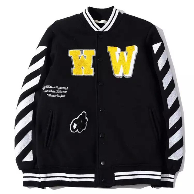 bc5af6a9a10b OFF WHITE C O VIRGIL ABLOH college baseball letterman outerwear mens jackets  high quality GD coat varsity jacket men clothes