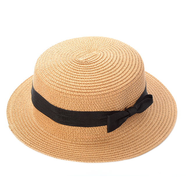 86480eed232 Lady Boater sun caps Ribbon Round Flat Top Straw beach hat Panama Hat  summer hats for