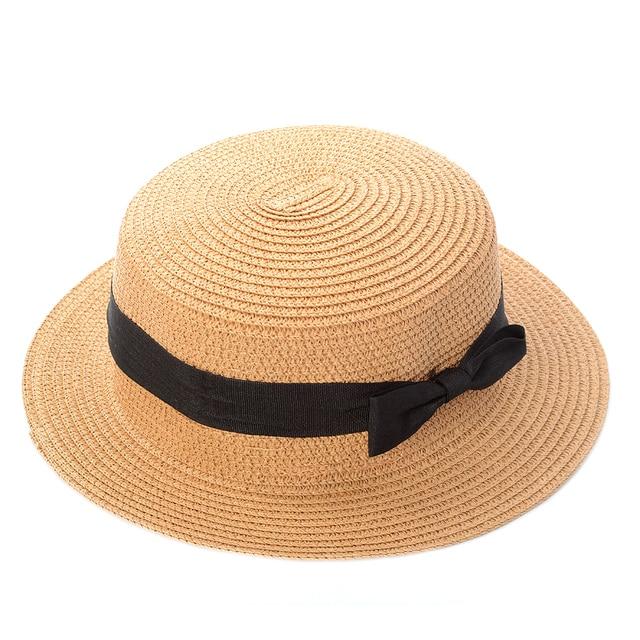 Lady matahari topi Pita Putaran Flat Top Straw Boater pantai topi Panama  musim panas topi untuk 770f85d174