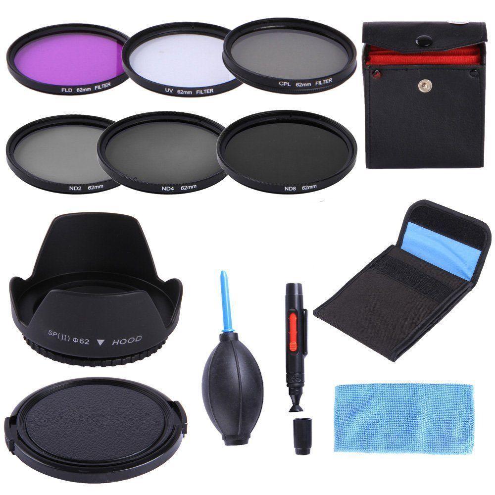9 in1 49 52 55 58 62 67 72 77 82 mm Lens UV Filter Cap Cover CCD+ Air Blow ND UV CPL Filter Cloth 52mm Lens Cap line 2 hot Shoe Lens Hood