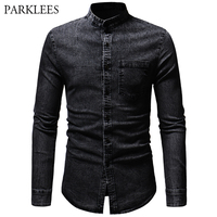 Brand Washed Denim Jeans Shirt Men Mandarin Collar Long Sleeve Mens Black Shirts Pocket Casual Slim Fit Hip Hop Street Wear XXXL