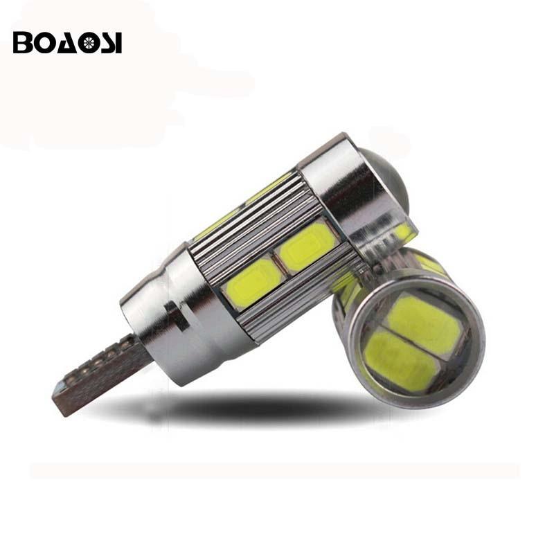 Boaosi 4x W5W <font><b>T10</b></font> светодиодные лампы 10 светодиодов 5630 SMD emc can-шины автомобиля интерьер света сигнала 12 В белый супер яркий двери свет Чемодан лампа