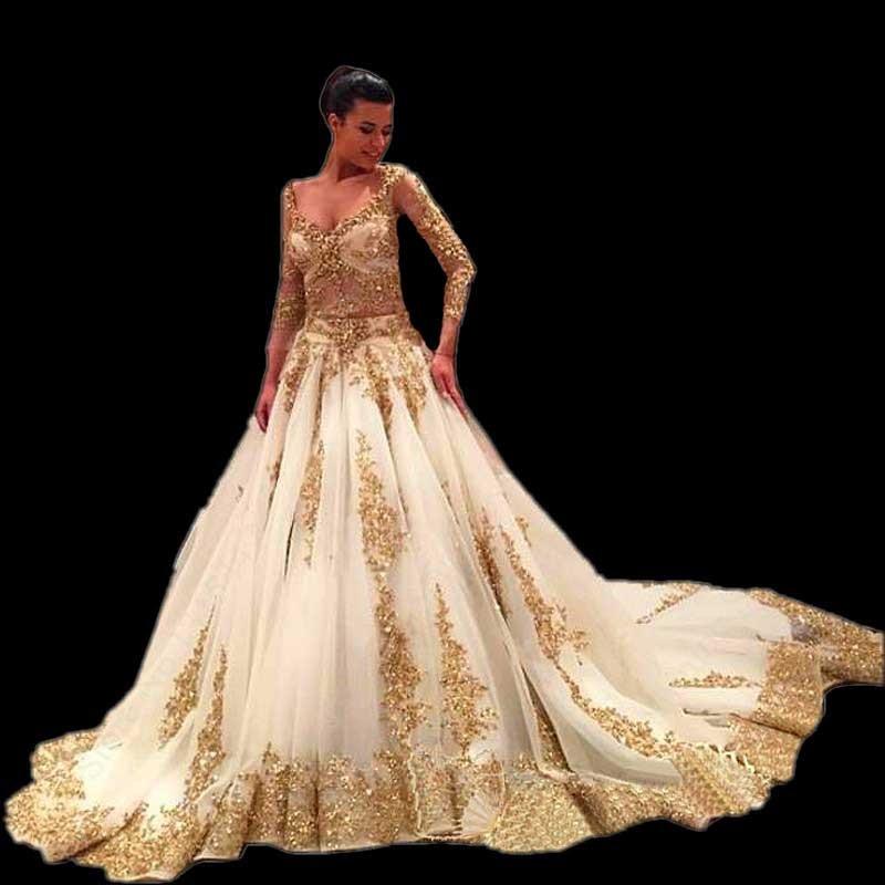 Aliexpresscom Buy Luxury Long Sleeve White Gold Wedding Dresses