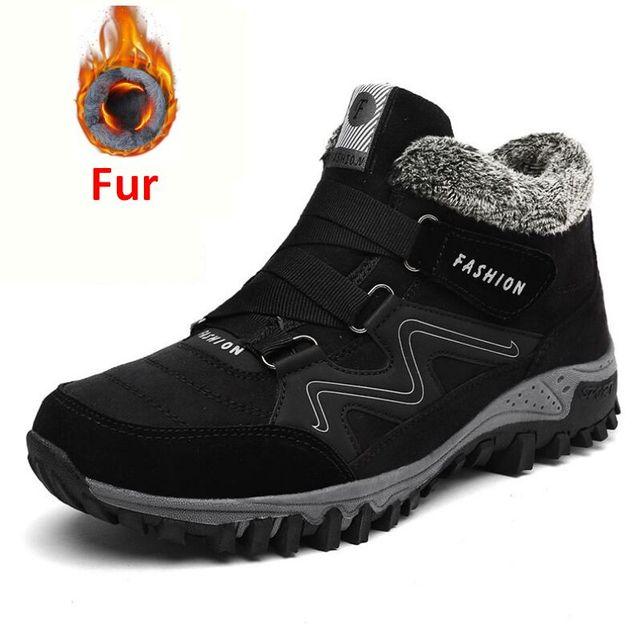 Erkekler Kar Botları Artı Boyutu 46 Yeni Erkekler Boots Kürk Unisex Kış Kar Botas Sıcak Peluş Ayakkabı Yüksek Üst çizmeler Sonbahar
