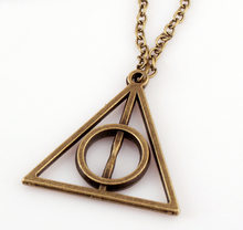 3 Color Retro Choker Necklacehot Sale Movie Deathly Hallows Triangle Metal women Pendant Long Chain Necklaces & Pendants men(China)