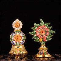 Tibetana Biddhism Decoraciones de Metal de Aleación Especial DoMa ShiZi Dos Piezas Un Par Esteric Budista Paquete Exquisito