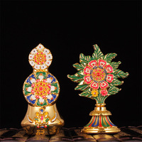 Tibetano Biddhism Speciale del Metallo Della Lega Decorazioni ShiZi DoMa Due Parti Una Coppia Esteric Buddista Pacchetto Squisito