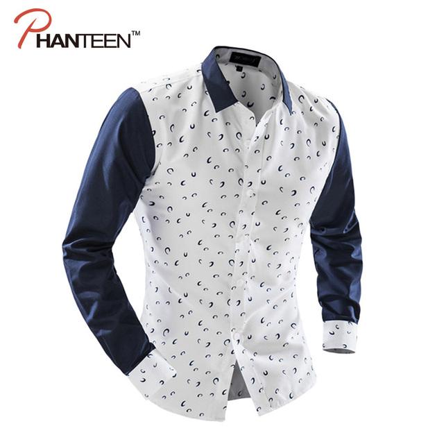 Phanteen otoño polka dot camisas de los hombres de manga larga patchwork raya de la tela escocesa ocasional camisas slim fit moda hombres clothing