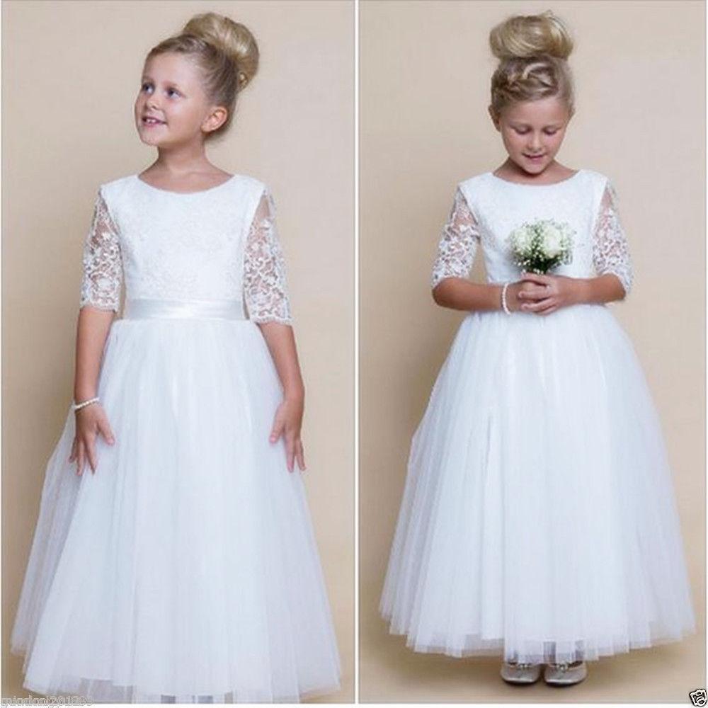 White 2018   Flower     Girl     Dresses   For Weddings Ball Gown half Sleeve Tulle Lace Long First Communion   Dresses   For Little   Girls