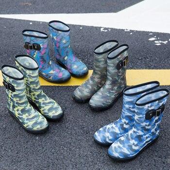 Chaussures imperméables hommes bottes de pluie botte de Camouflage mâle automne chaussures de pluie en caoutchouc naturel résistant à l'usure hommes pluies chaussures
