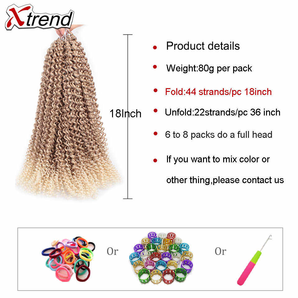 Xtrend страсть твист волосы крючком коса наращивание воды волна синтетические косы с крючком весна плетение волос для пушистых