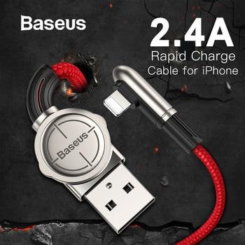 49f911258b6 Cable USB Baseus para iPhone XR Xs Max Cable de carga rápida cargador rápido  de a Cable de codo para iPhone X 7 cable de carga para iPad 8 6 s Plus ...