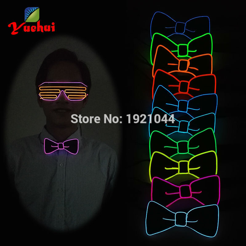 2017 NEW 10 Color Light Up LED Bow Tie glowing EL wire Bow Tie For Evening Party decoration,DJ,bar,club cosplay with 3V inverter