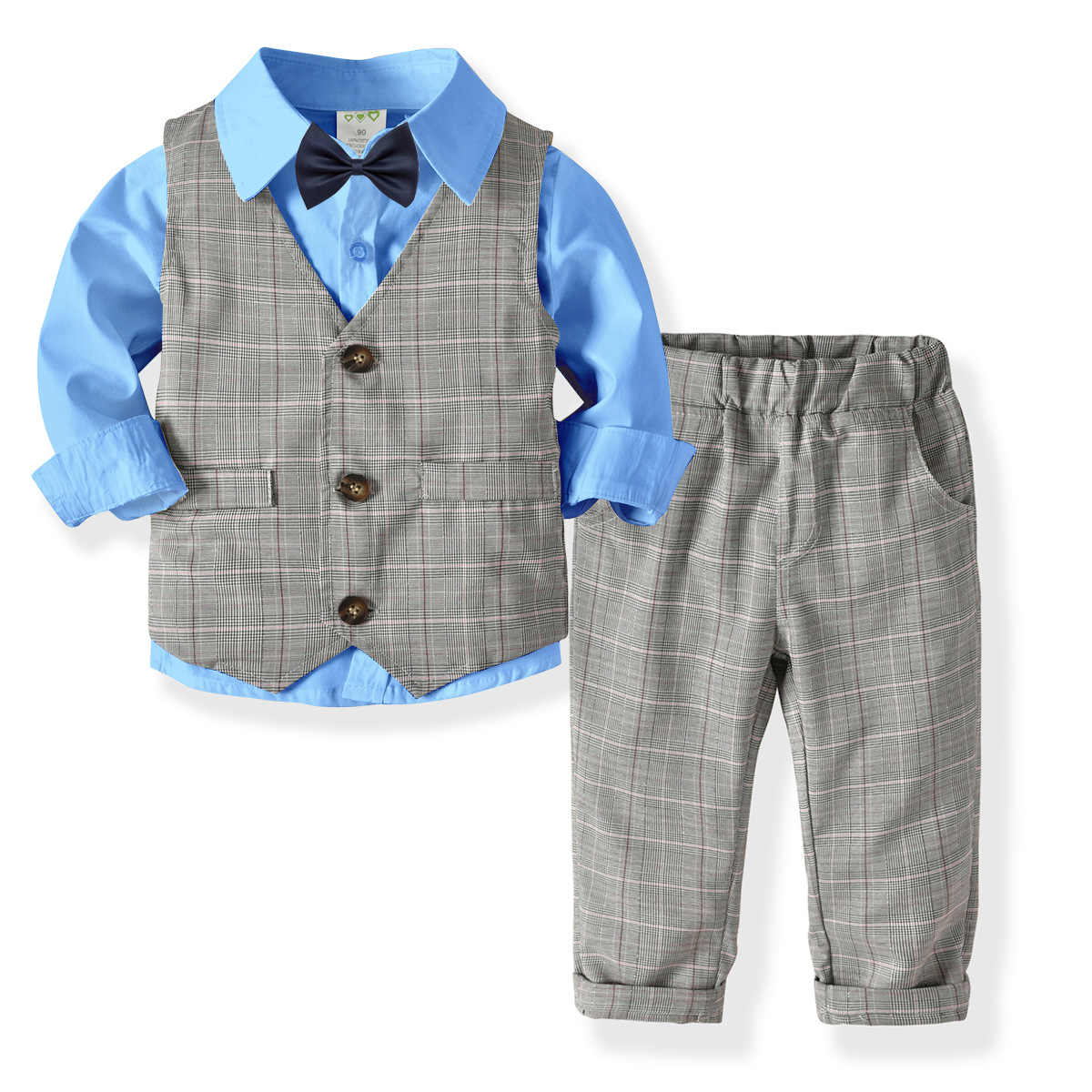 2019 אביב טרייל חליפת עבור בני ילדים פורמליות נסיך בית ספר תלמיד שמלת נטלמן ילדים חולצה אפוד מכנסיים Bowtie 4 Pcs תחפושות